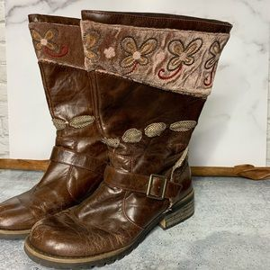Kenzie Boots Boho Gypsy Leather Pull On Size 9M